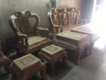 Bàn ghế gỗ Minh đào hương ta gia lai 7 món cột 14