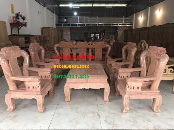 Bàn ghế gỗ| Bàn ghế Minh voi 8 món gỗ hương đá