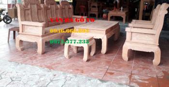 Bàn ghế gỗ| Bộ Như Ý khuỳnh tay 6 món tay 12cm