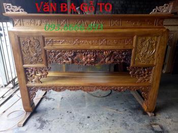 Bàn thờ gỗ gụ trạm rồng _BTG005