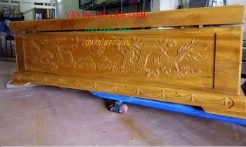 Quan tài gỗ vàng tâm hàng rộng víp ( thiên 10 thành 7 địa 7)