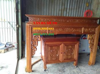 Bàn thờ gia tiên + bàn cơm (gỗ gụ)