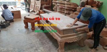 Bàn ghế gỗ| Minh đào tay 14 cm mặt tràn 10 món