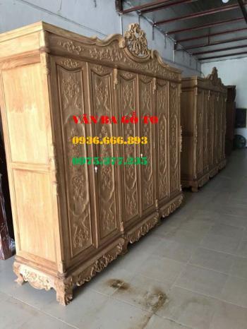 Tủ áo 3 buồng 6 cánh gỗ gụ lào