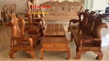 Bàn ghế gỗ | Bộ Tần Thủy Hoàng 6 món tay 12 cm
