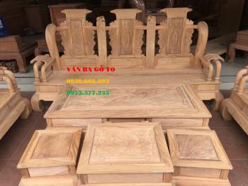 Bàn ghế gỗ - Minh Tần 7 món tay 12cm